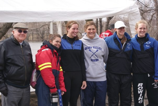 Don Lubbers stands with members of the GVSU Crew at a past Lubbers Cup Regatta. This years regatta will be held on April 2nd.