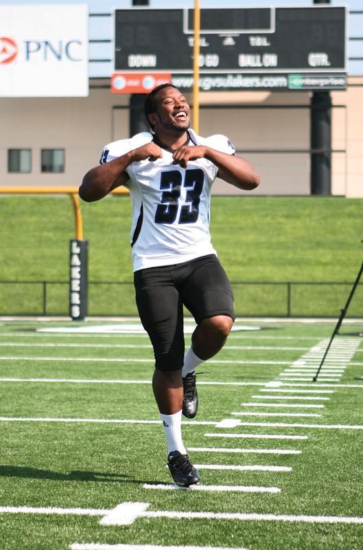 GVL / Robert MathewsJunior Linebacker Luther Ware having some fun during media day.