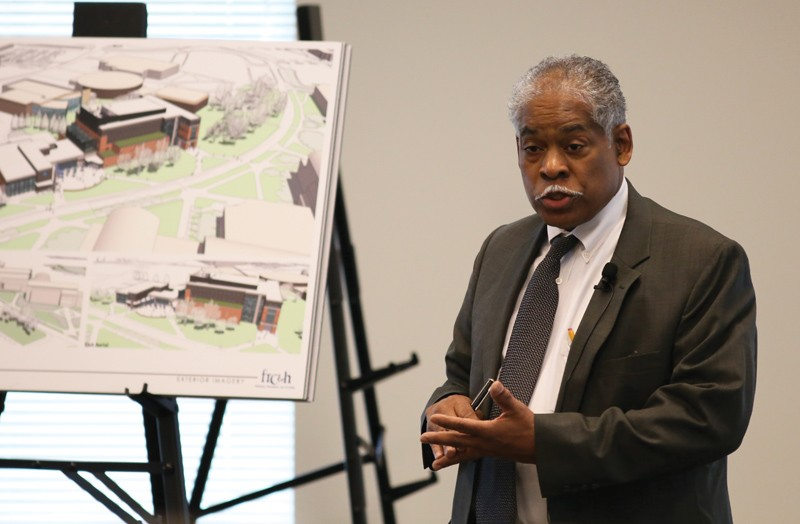 GVL / Robert MathewsAssociate Vice President for Facilities Planning, James Moyer, presenting the renderings for the Laker Marketplace connected to the new science facility.