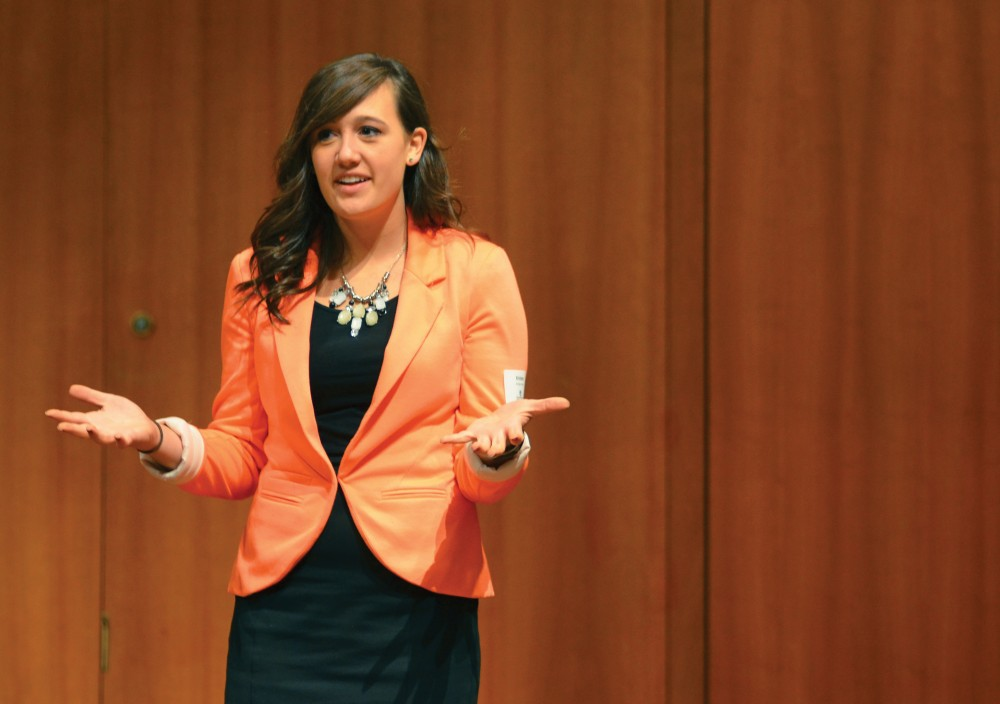 GVL/Nathan Kalinowski Junior Kristen King at Idea Pitch presenting her idea.