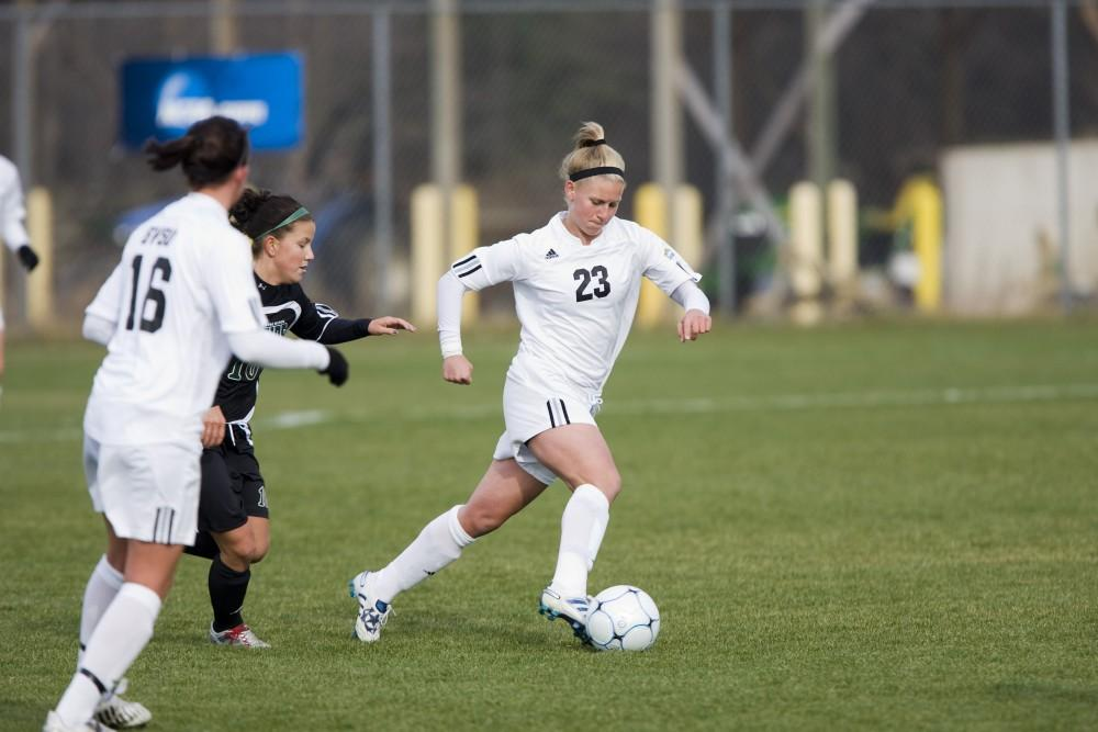 <p>Courtesy/GVSU Athletics -Assistant coach Kristen Walker, formerly Kristen Eible, was a two-time national champion andfour-time All-GLIAC First Team midfielder for the Lakers from 2007-2010.</p>