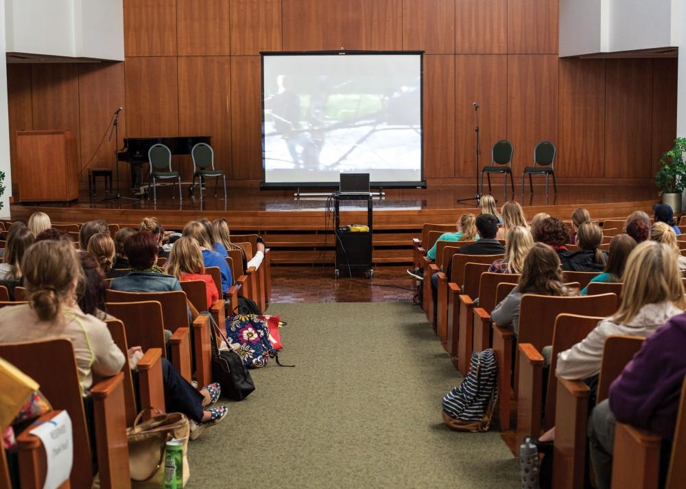 """GVL / Sara CarteGrand Valley students and staff get ready to watch the documentary screening of """"The Hunting Ground"""" in Cook DeWitt on Oct. 6."""