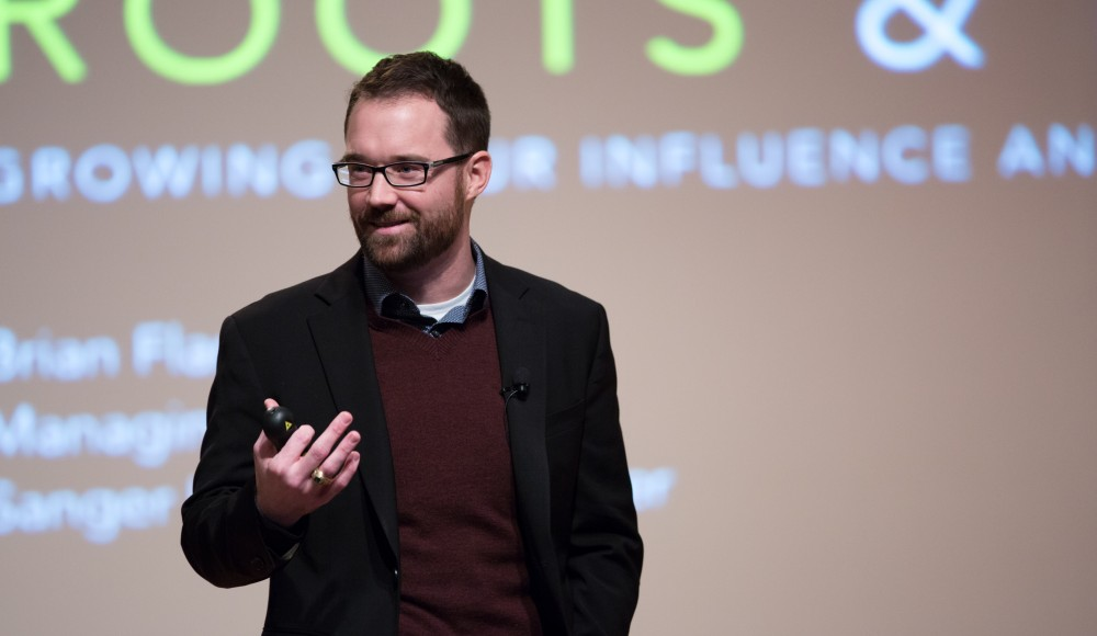GVL / Kevin Sielaff - Brian Flanagan, managing director of the Sanger Leadership Center at the University of Michigan's Ross School of Business, speaks in Loosemore Auditorium on Grand Valley's Pew Campus Friday, Feb. 12, 2016.