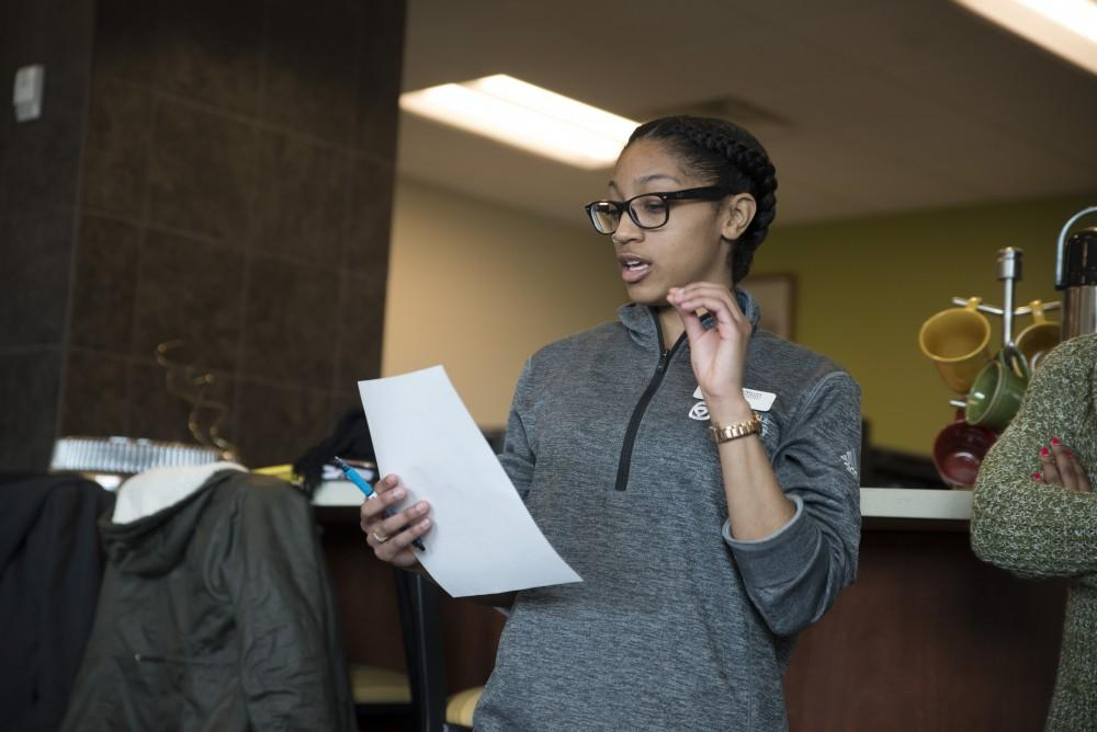 GVL / Luke Holmes - Bre from campus recreation speaks during the