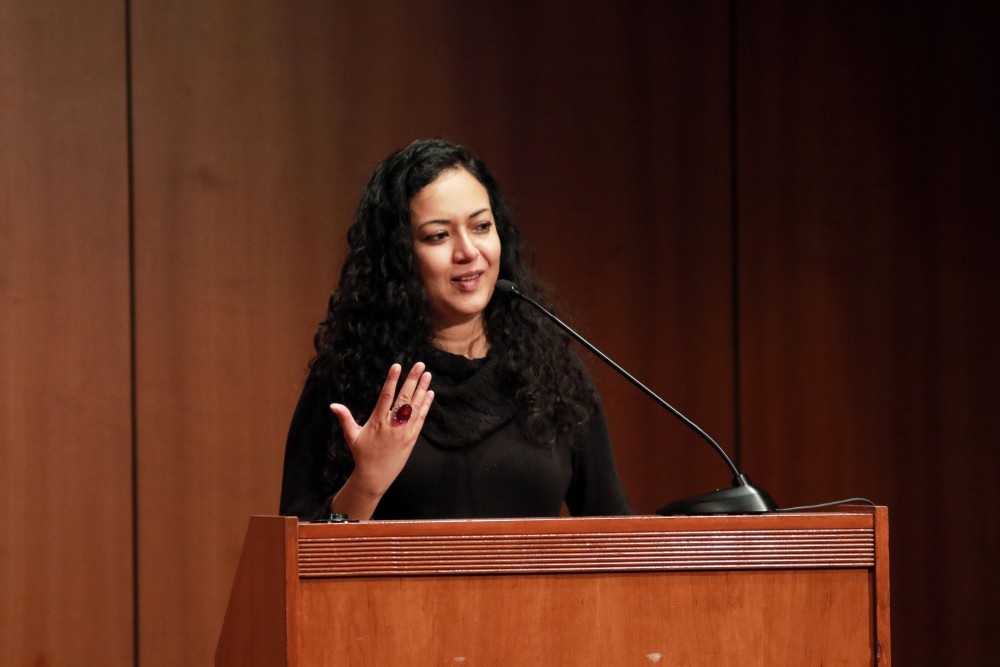 GVL / Emily FryeWriter and Grand Valley State University visiting Professor, Oindrila Mukherjee reads for the Writers Series on Thurs. Jan. 28, 2016