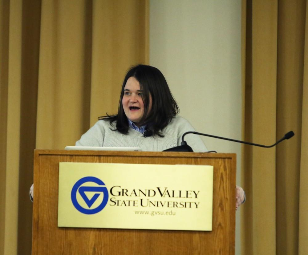 GVL / Kasey Garvelink - On Mar. 21, 2016 Amanda Cox presented some of her work to students and faculty in Allendale.