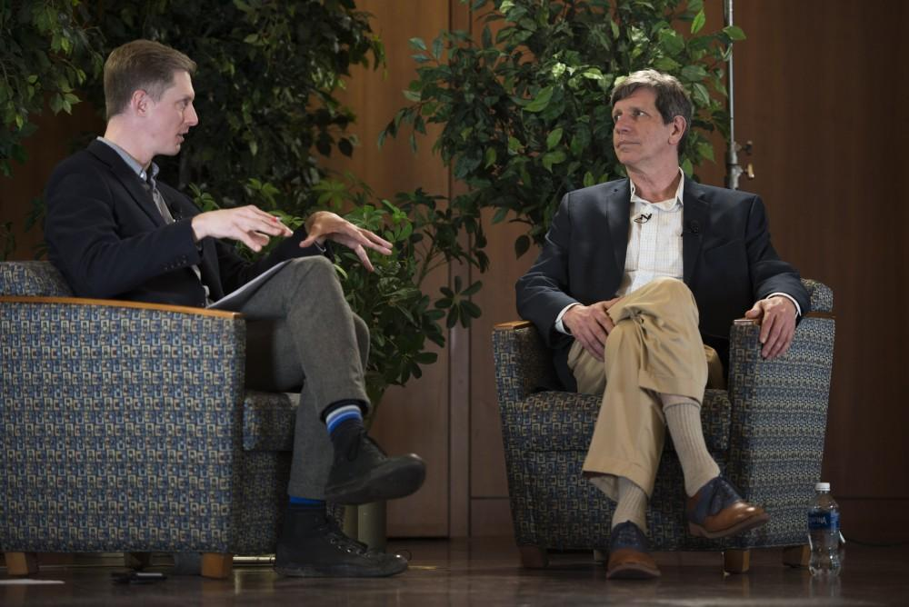 GVL / Luke Holmes - Curt Guyette sits down to discuss the Flint water crisis with Dr. Eric Harvey. The discussion was held in the Cook-DeWitt Center Tuesday, Mar. 29, 2016.