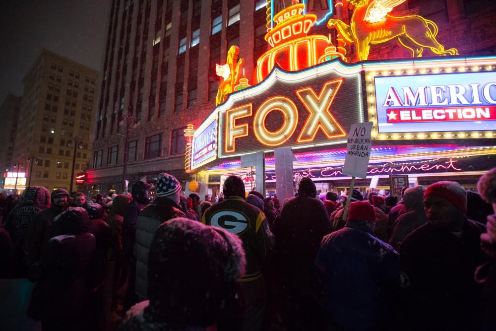 GVL / Kevin Sielaff - Protesters gather outside of the Fox Theater in Detroit, MI on Friday, March 4, 2016 to voice their opinions about the GOP candidates.