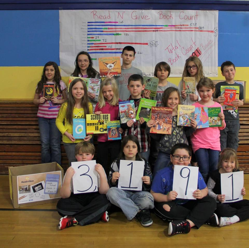 GVL / Courtesy - Read n' GiveLincoln Elementary School in Sault Ste. Marie, Michigan, holds a school-wide book drive throughout the month of March. The school collected a total of 3,191 books.