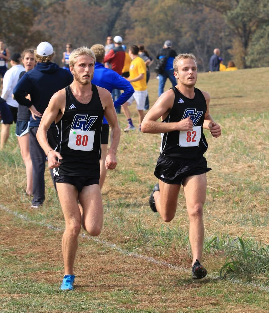 GVL / Courtesy - Alan SteibleZach Panning (right) competes during NCAA D2 Midwest Regional Championship in Evansville, Indiana.