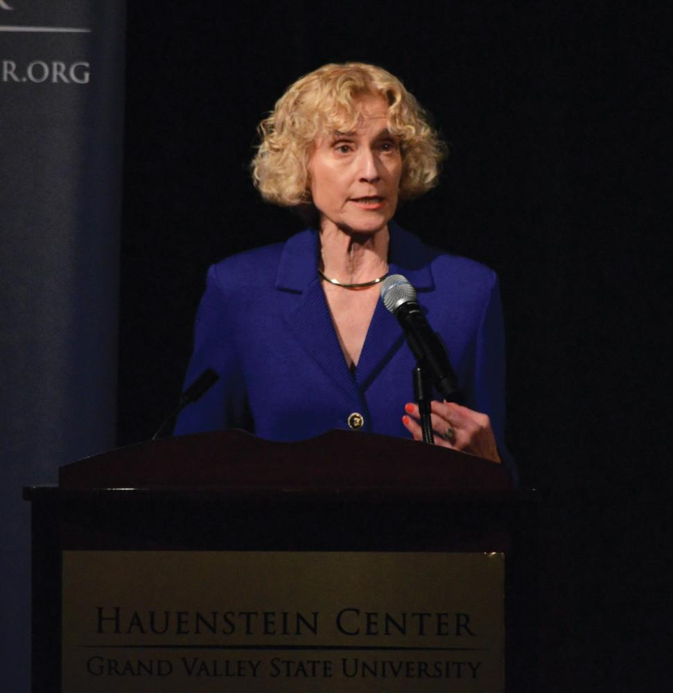 GVL/ Hannah Zajac- Martha Nussbaum speaks about anger in a political world in the L.V. Eberhard Center in downtown Grand Rapids, on Tuesday, April 4, 2017.