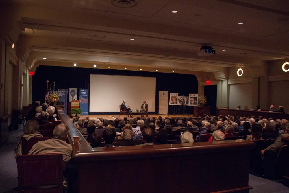 GVL / Dylan McIntyre. Hank Meijer and Gleaves Whitney speaking together at the Loosemore Auditorium about the Hauenstein Center for Presidential Studies on Thursday, Nov. 2, 2017.