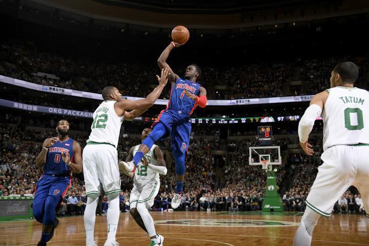 GVL / Courtesy - Brian Babineau/NBAE/Getty ImagesReggie Jackson #1 of the Detroit Pistons shoots the ball against the Boston Celtics on November 27, 2017 at the TD Garden in Boston, Massachusetts.