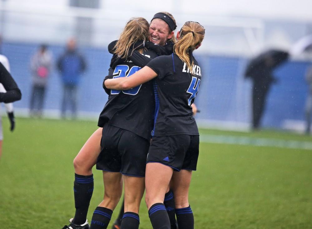 GVL / Emily Frye   Tara Lierman celebrates Gabriella Mencotti's goal against Ohio Dominican on Sunday November 12, 2017.