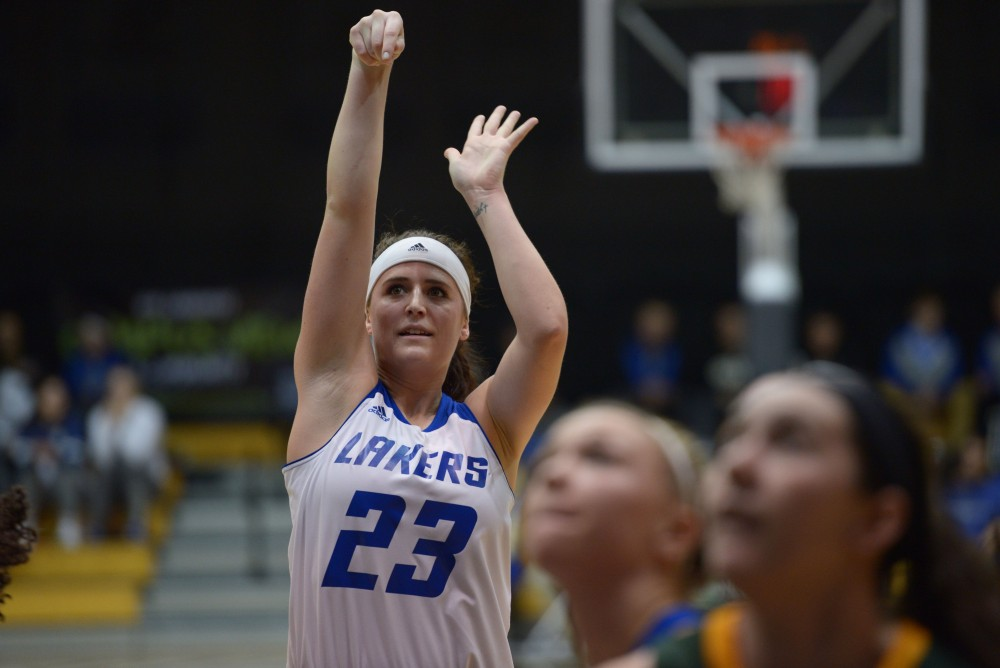 GVL / Luke Holmes - Kayla Dawson (23) shoots the free throw. GVSU Women's Basketball defeated Wayne State University on Thursday, Jan.19, 2017.