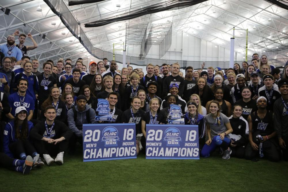 <p>GVL / Emily Frye </p> <p>GVSU Track and Field take the GLIAC Championship title for both men's and women's, adding points to the university en route to the president's cup</p>