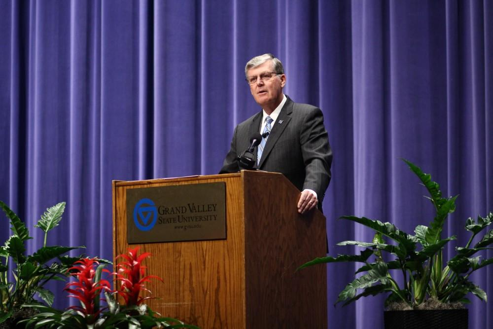 <p>Grand Valley State University President Thomas Haas announced his impending retirement Wednesday, Feb. 28, to an audience of GVSU administrators, faculty, staff and students. GVL / Sheila Babbitt</p>
