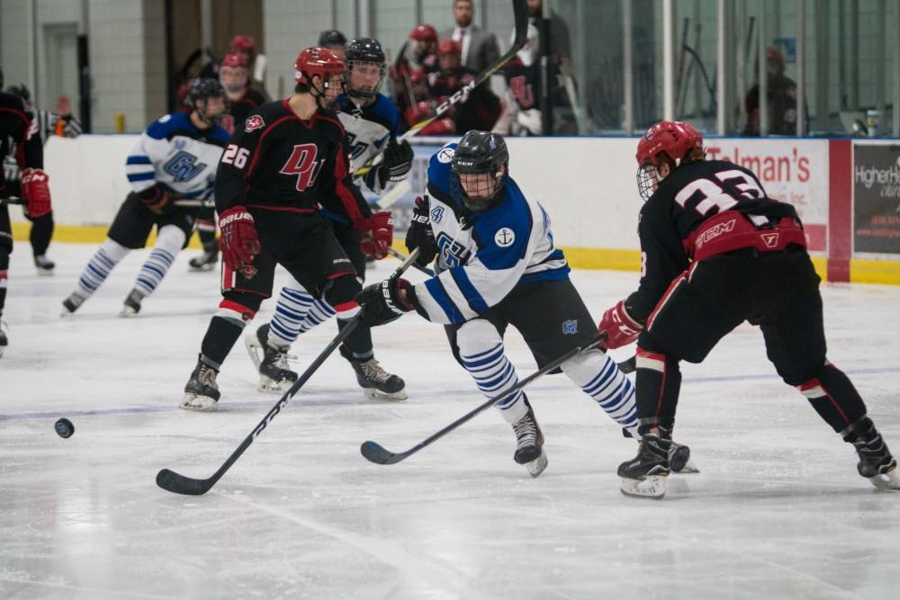 GVL / Spencer Scarber Grand Valley State University Men's Division 2 Hockey Vs. Davenport University on Saturday February, 17 2018.