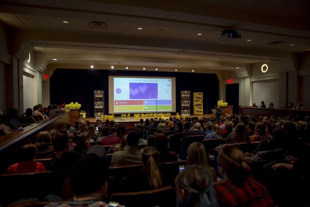 GVL / Sara CarteThe audience waits for Laughfest's Drew Lynch to perform at the Loosemore Auditorum on Tuesday, March 13.