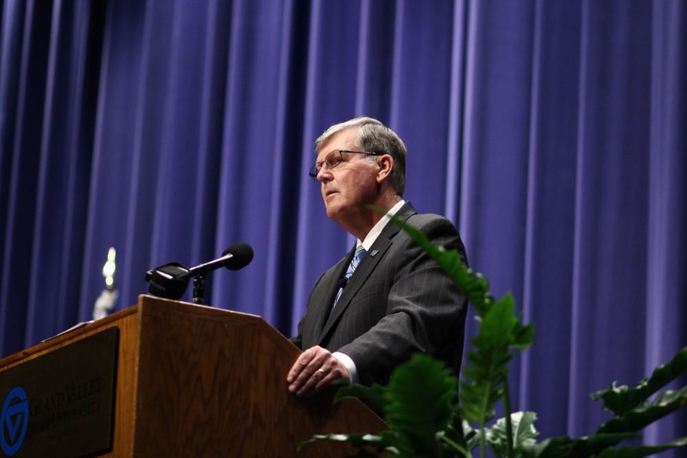 GVL / Sheila BabbittPresident Thomas Haas announces his retirement on Wednesday February 28.