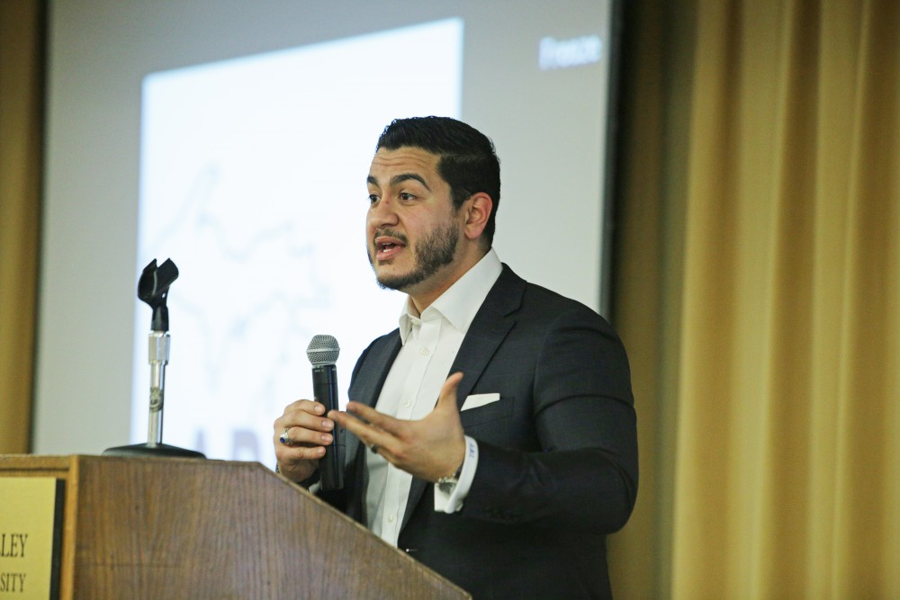 GVL / Emily Frye      Michigan Govenor candidate Abdul El-Sayed speaks at the GVSU Town Hall meeting on Wednesday March 14, 2018.