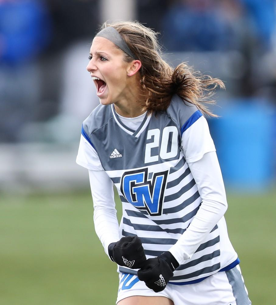 GVL/Kevin Sielaff - Gabriella Mencotti (20) reacts to her goal which put the Lakers up 2-0 during the game versus Central Missouri on Sunday, Nov. 20, 2016 in Allendale.