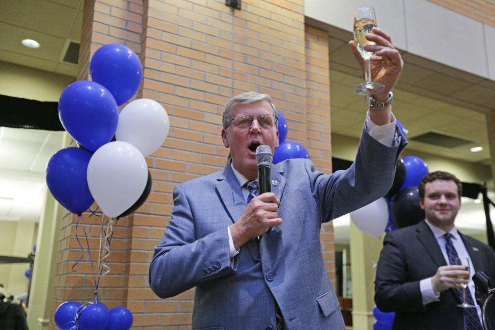 GVL / Emily Frye President Thomas Haas leads the annual toast at the Toast with T. Haas event on Wednesday April 18, 2018.
