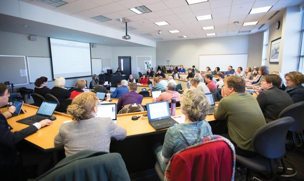 GVL / Kevin Sielaff - The University Academic Senate (UAS) convenes Friday, Jan. 29, 2016 inside the DeVos Center on Grand Valley's Pew Campus.