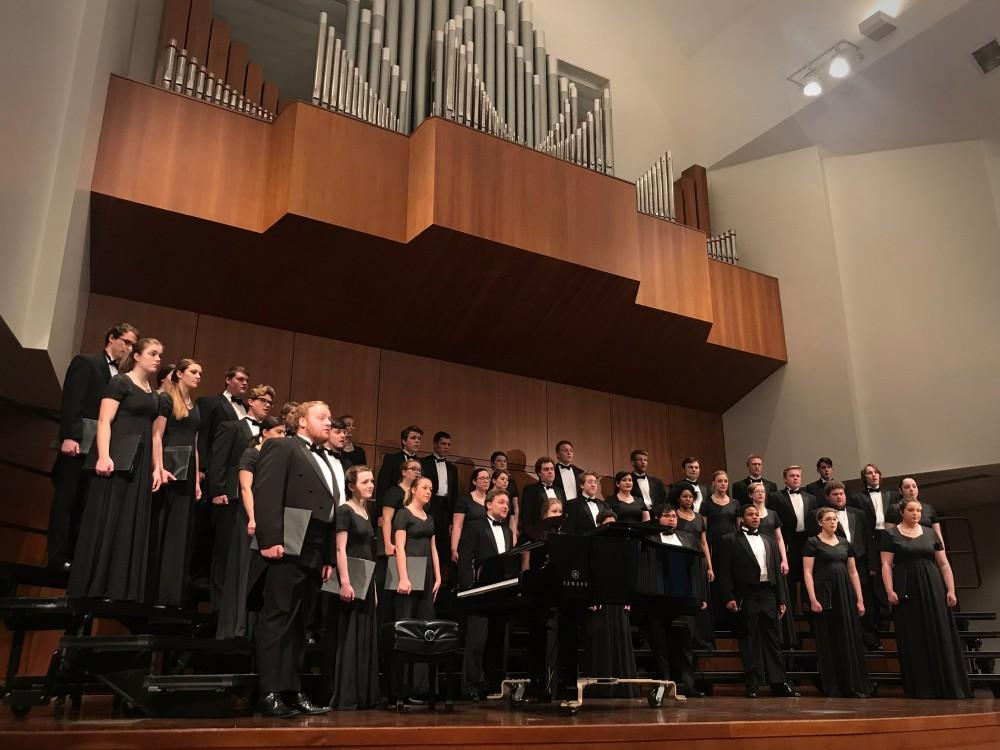 GVL / Sheila BabbittThe University Arts Chorale and Cantate Chamber Ensemble perform under the direction of Professor Ellen Pool on April 16th, 2018.