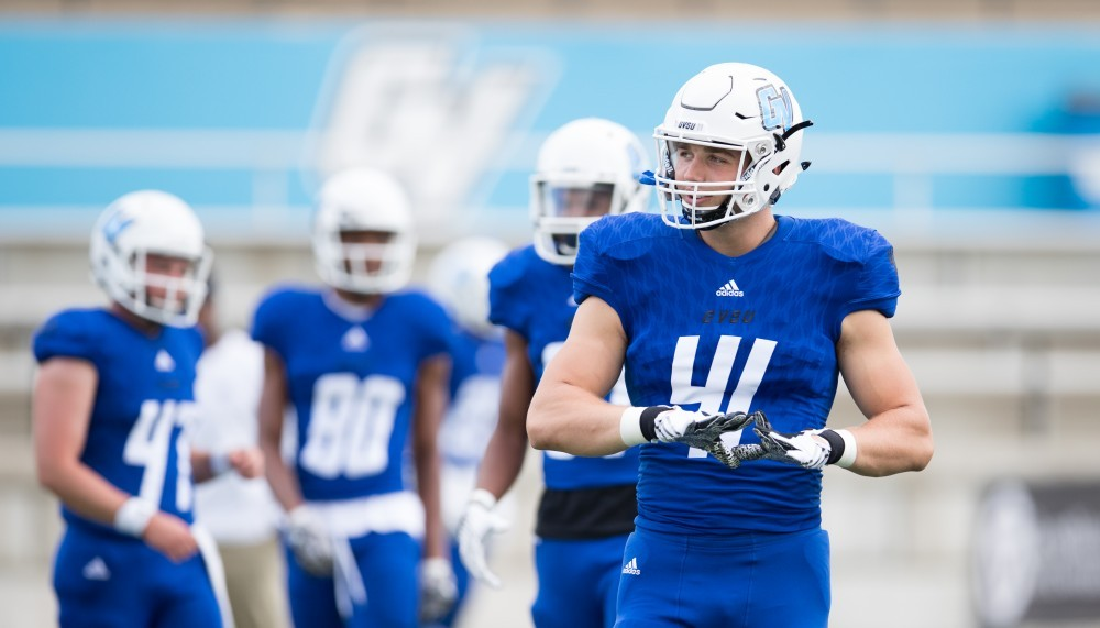 <p>GVL/Luke Holmes  Keizer prepares for a home game against Tiffin. The tight end will compete for a spot with the Baltimore Ravens this fall. </p>