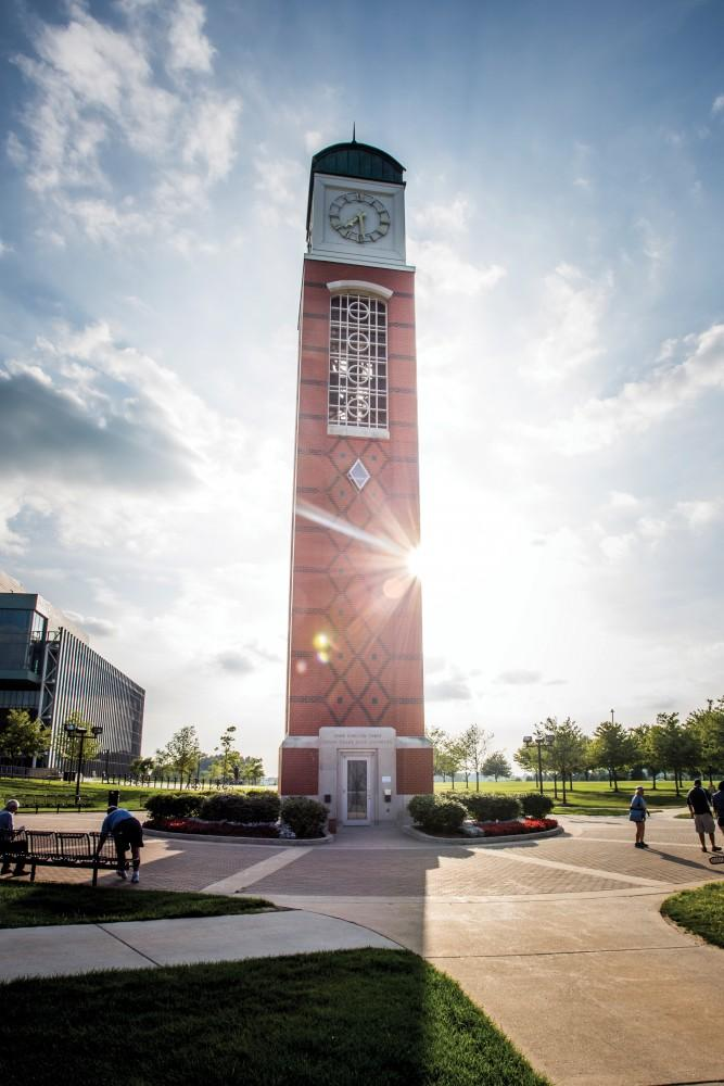 GVL/Archive The clock tower on GVSU's Allendale campus has a 44 bell carillon. GVSU has two of the 14 carillons in the state of Michigan.