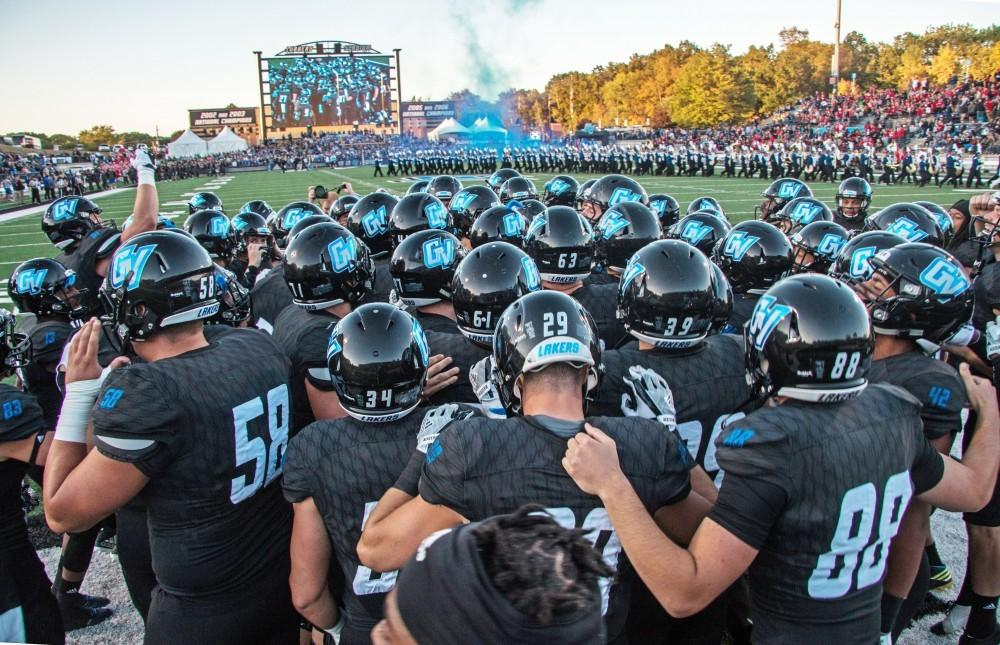 The Laker football team gears up for a game. GVL / Spencer Scarber.