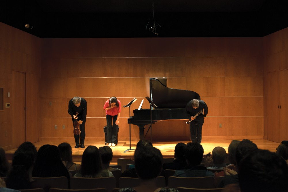 <p>Performers taking a bow at French and Friends.  GVL / Andrew Nyhof</p>