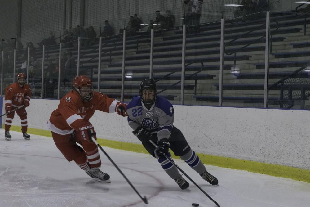<p>D3 hockey against Miami University (Ohio) on October 19, 2018.  GVL / Andrew Nyhof</p>