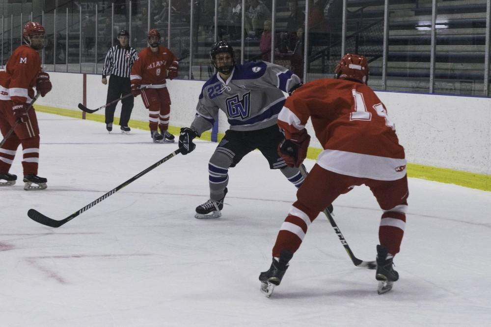 D3 hockey against Miami University (Ohio) on October 19th.  GVL / Andrew Nyhof