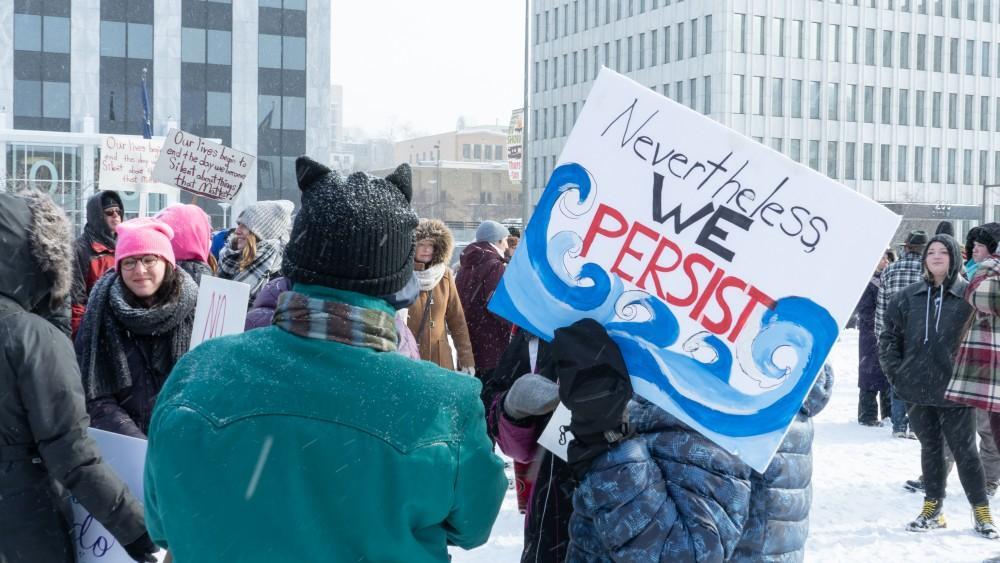 <p>GR Citizens. Womens March. 1/19/19 at 1 P.M. Downtown Grand Rapids. Protesting for rights. GVL / Ben Hunt</p>