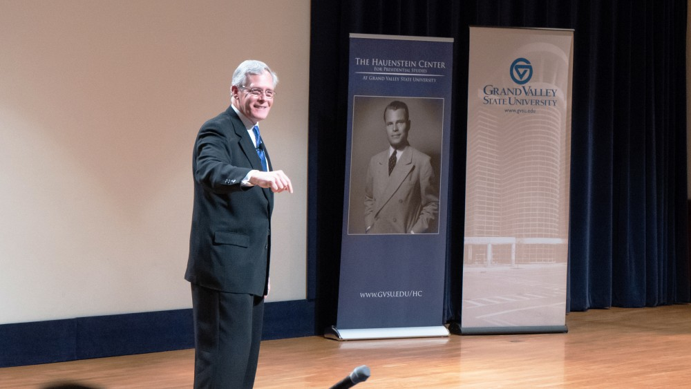 <p>Gleaves Whitney. Director of the Hauenstein Center for Presidential Studies. Charles W. Loosemore Auditorium, Richard M. DeVos Center. GVL/BenjaminHunt</p>