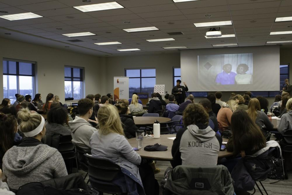 <p>Shannon Cohen speaking at Grand Valley in remembrance of Martin Luther King. GVL / Andrew Nyhof</p>