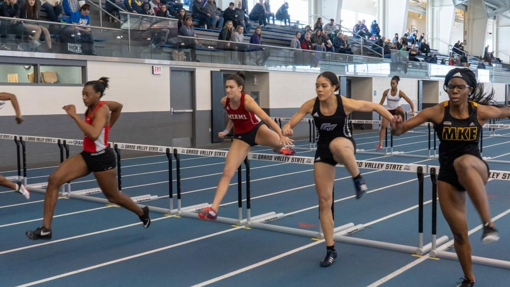 <p>Track and field students. Track and field meet. Kelly Field house. Friday, 2/8/19. Athletic training. GVL</p>