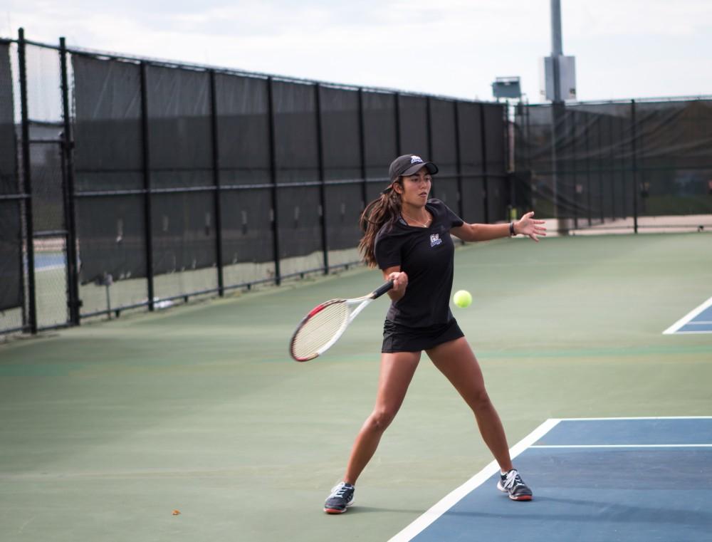 <p>GVSU Womens Tennis team against Saginaw Valley State University on October 21, 2017. GVL / Archive</p>