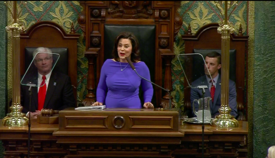 courtesy / www.chalkbeat.org Gov. Gretchen Whitmer delivers her first State of the State address on Tuesday, Feb. 12, 2019.