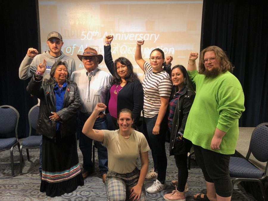 Lenny Foster and Dr. LaNada War Jack pose alongside members of the Native American Student Association.  Courtesy / NASA