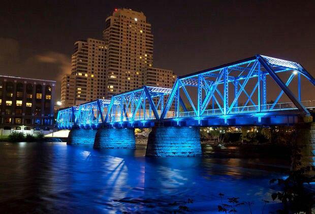 Blue Bridge Downtown GR After Dark // Courtesy to Pinterest