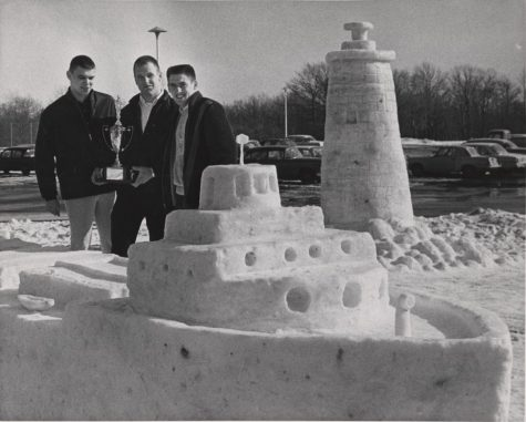 The winners of a snow sculpture contest from a 1960