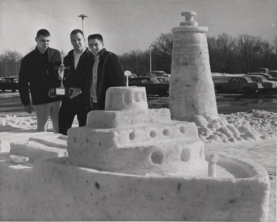 The winners of a snow sculpture contest from a 1960's Winter Carnival at Grand Valley (Courtesy GVSU Archives)