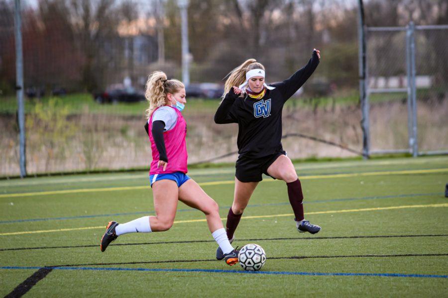 GVL / Meghan Landgren. GVSU Club Soccer practice, 4.15.21