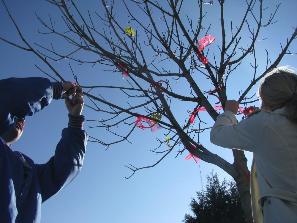 Courtesy Photo / Jolynn ZirnheltJolynn Zirnhelt and Christopher Chyba tie ribbons on a tree located on campus for World AIDS Day