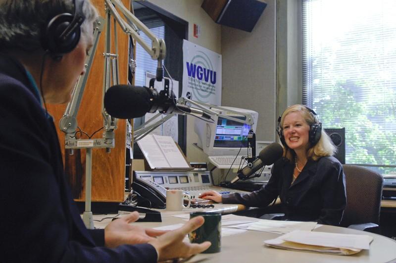 GVL Archive WGVU host, Shelley Irwin interviews a guest at WGVU Radio