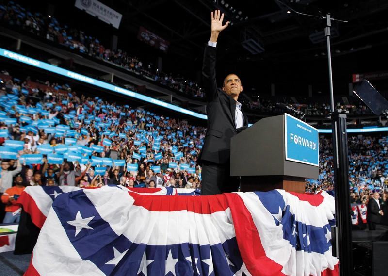 Courtesy / (REUTERS/Jason Reed)U.S. President Barack Obama waves as he arrives at an election campaign rally in Columbus, Ohio, November 5, 2012, on the eve of the U.S. presidential elections.