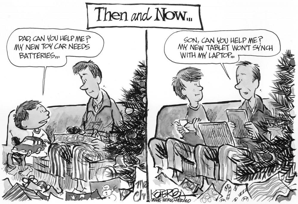 Jeff Koterba color cartoon for 12/25/2011Christmas Tablet